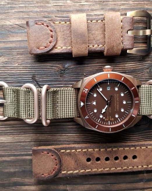 Viribusunitis Watches Uhrband LEATHER in braun